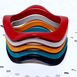 Vintage Plastic Bangle Bracelet Set Multi Color